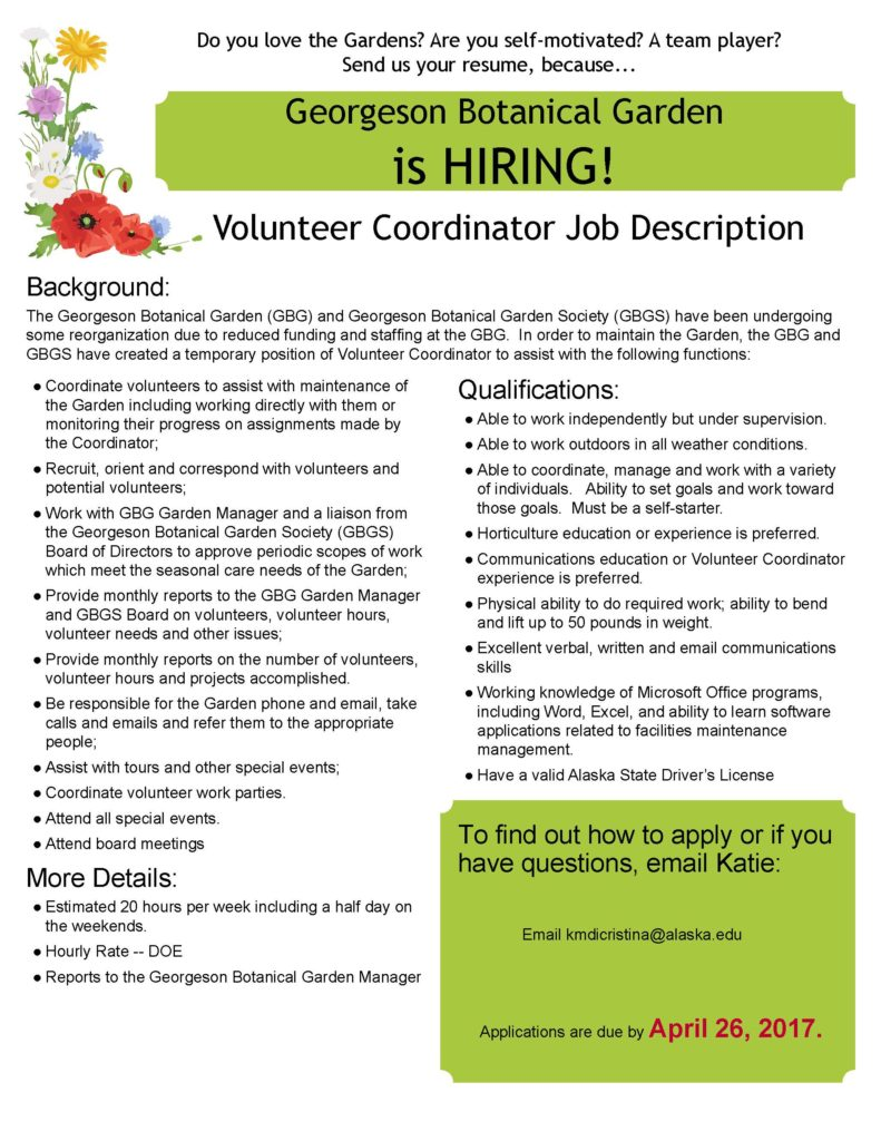 now hiring part time volunteer coordinator at the gbg now hiring part time volunteer coordinator at the gbg